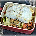 <b>Cassolettes</b> de merlu sur légumes