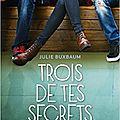 Trois de tes secrets, de julie buxbaum