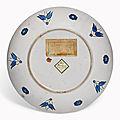 A fine rimless Iznik pottery dish, Ottoman Turkey, <b>circa</b> <b>1575</b>