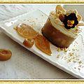 Transparence de pommes caramel, pétales de bonbons et chantilly mascarpone éclats de caramel