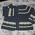 Gilet 1-3 mois Crochet laine Idéal Meije Persan 1