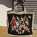 Sac de plage toile de sac à café du brésil et canevas de nos grand-mères - modèle unique - réversible - upcycling