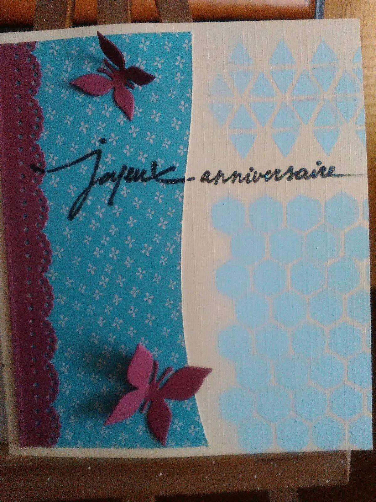 Carte anniversaire peinture et papier