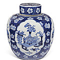 A blue and white jar and <b>cover</b>, 19th century