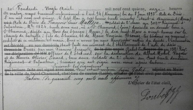 transcription de l'acte de décès de François Louis Mattéja (2)