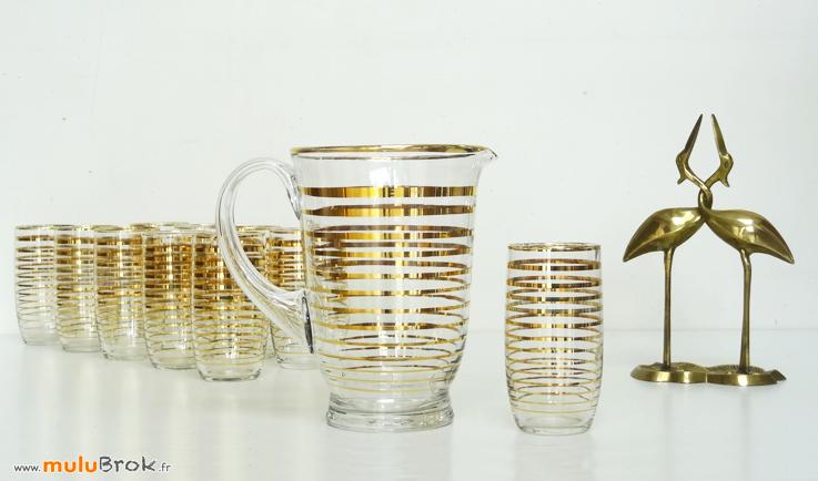 PICHET-10-verres-Filet-doré-4-Héron-laiton-muluBrok-Vintage