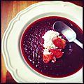 Soupe fraîche de betterave, chèvre frais et orange sanguine [mél]