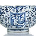 An extremely rare 'winged hydra' <b>blue</b> <b>and</b> <b>white</b> <b>porcelain</b> bowl inscribed