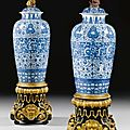 A matched pair of blue and white '<b>Soldier</b>' <b>Vases</b> And Covers. Qing dynasty, Kangxi period