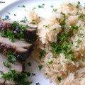 Filet mignon laqué et riz au gingembre