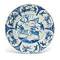 A Chinese blue and white'Equestrian' dish, Kangxi period (1662-1722)