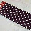 09. pochette à lunettes - toile enduite violette et biais rouge