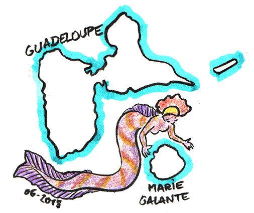 Guadeloupe au-dessus de Marie-Galante - carte sirènologie