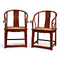 A pair of huanghuali continuous horseshoe-back armchairs, <b>quanyi</b>, Late Ming dynasty