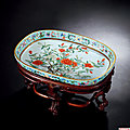 A Turquoise-Ground Famille-Rose 'Pomegranate Blossom' Oval Dish, Daoguang Period, 1821-1850