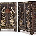 A pair of rare large mother-of-pearl-inlaid lacquer cabinets, <b>Ming</b> dynasty, 16th century