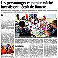 Intervention plastique avec 24 écoliers de cycle 3 (CM1-CM2) pour réaliser des personnages en papier mâché présentés ensuite en exposition - Mai 2017 #papiermache #alinepallaro #interventionscolaire #school #bunzac