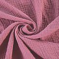 Tissu double gaze de coton uni coloris vieux rose au mètre