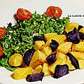 Salade de pissenlits et pommes de terre frites, <b>vegan</b>