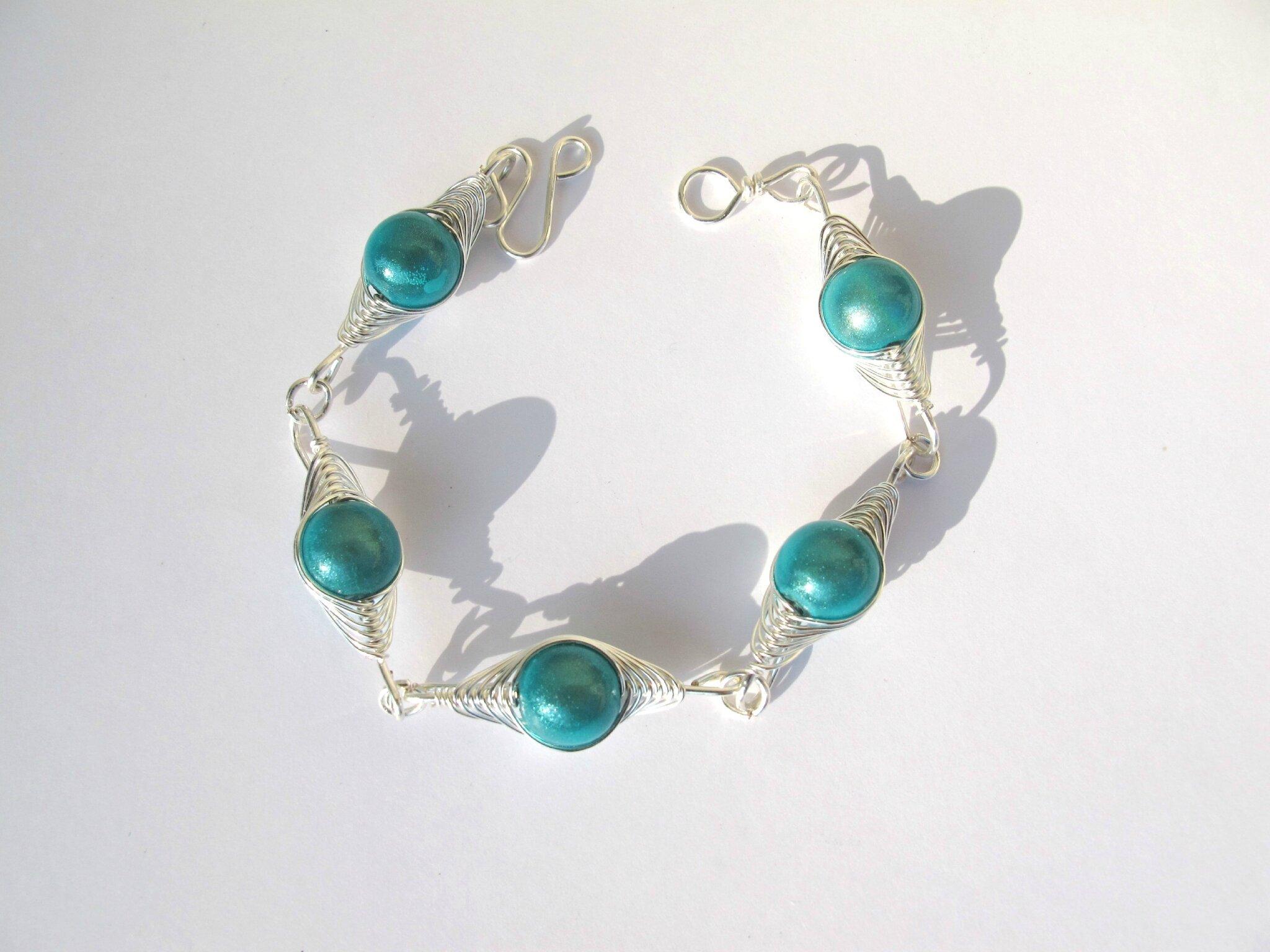 bracelet wire argent perles turquoises