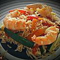 Poêlée de riz et légumes aux crevettes