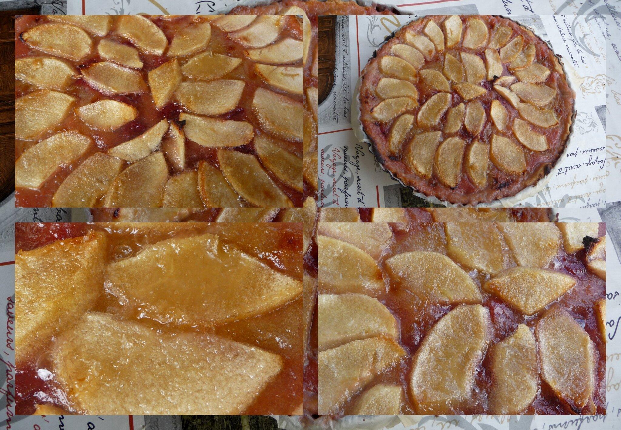 Tarte rhubarbe -cerise et pommes