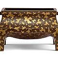 A <b>gold</b>-<b>splashed</b> <b>bronze</b> rectangular incense burner, 16th-17th century