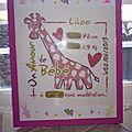 Tableau de naissance Liloo sous cadre
