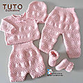 FICHE TRICOT BEBE, explications tricot TUTO, modèle, layette, tricot bb