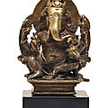 A silver-inlaid bronze figure of Ganesha, India, Himachal Pradesh, <b>10th</b>-<b>11th</b> <b>century</b>
