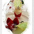 Verrine fraises, mousse citron lemon curd, mascarpone, chantilly, éclats de pistache et tuile à la menthe..............