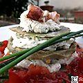 Millefeuille d'artichaut au crabe sur coulis de tomate