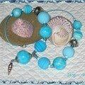 Collier boules bleu coquillage 1