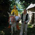 un poulet sur un âne !