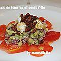 Carpaccio de tomates et oeufs frits