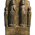 A finely carved double-Bodhisattva marble stele, <b>Sui</b> <b>dynasty</b> (581-618) , dated 608