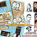 Faire-part mariage suisse et alsace - illustration de caricatures dessinées