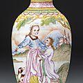 An Imperial <b>Canton</b> <b>enamel</b> 'European subject' snuff bottle, blue <b>enamel</b> mark and period of Qianlong