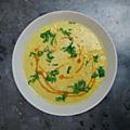 Soupe de maïs à l'huile de chorizo