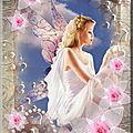 fleurs roses et ange