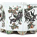 A rare famille-verte 'Flowers and birds' octagonal jardinière, Mark and period of Kangxi