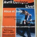 Fiche promotionnelle canadienne-concert (2003)