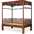 A tiger-maple four-poster canopy bed,jiazichuang, 18th century