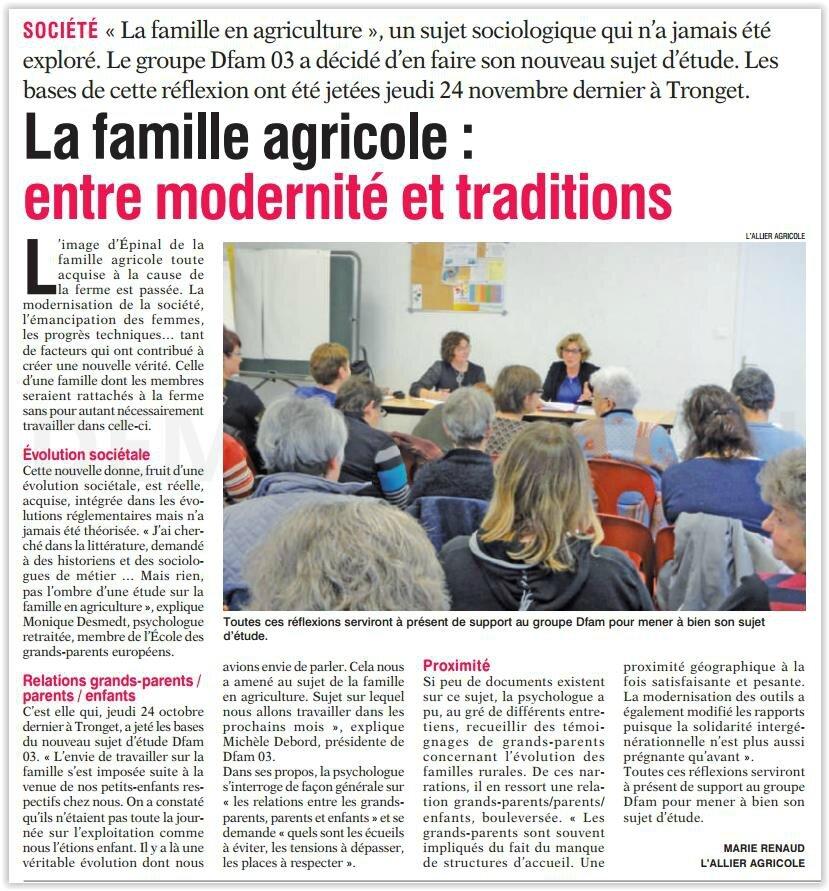 """""""La famille agricole : entre traditions et modernités"""" Un article de l'Allier agricole Marie Renaud - Un article La Montagne"""