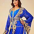 Caftan marocain <b>bleu</b> éblouissante