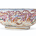 A rare large <b>tiger</b> <b>and</b> <b>foxhunting</b> <b>bowl</b>, Qianlong period, circa 1775