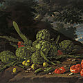 <b>Luis</b> <b>Meléndez</b>, Artichokes and tomatoes in a landscape