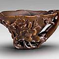 A rhinoceros horn flower-form cup, 17th-18th century