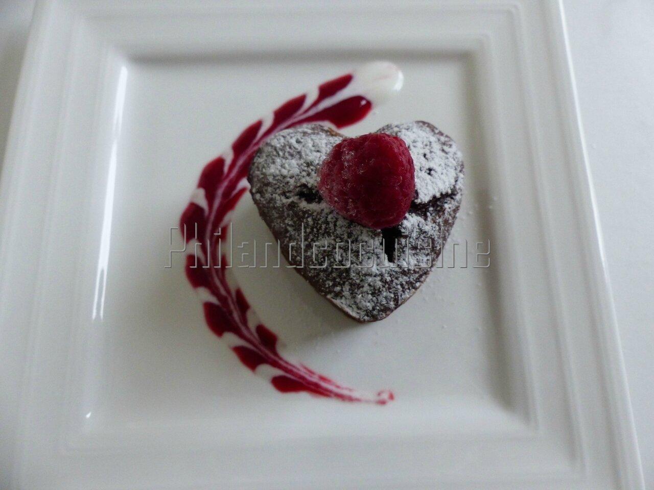 Cœur fondant chocolat framboise à la compote de pomme ou comment se faire plaisir sans gluten, sans beurre et sans sucre