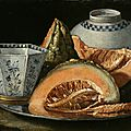 Cristoforo Munari (Reggio Emillia 1667 – 1720 Pisa), A Still-<b>Life</b> with Melon, an octagonal blue and white cup on a Silver Charge